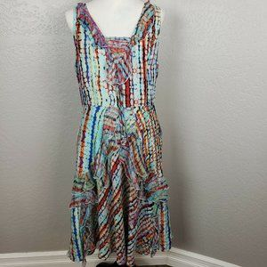 Sundance A-line Midi Sleeveless Dress 100% Silk 16
